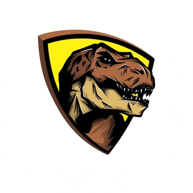 Testa t-rex per il logo sportivo Vettore Premium
