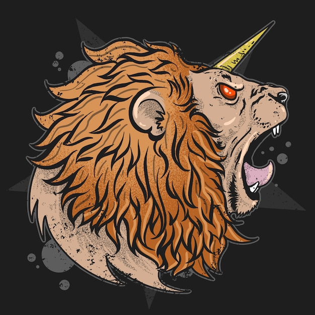 Testa unicorna di leone con opera d'arrabbiera Vettore Premium