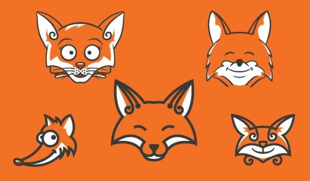 Teste di cartone animato volpe in arancione scaricare