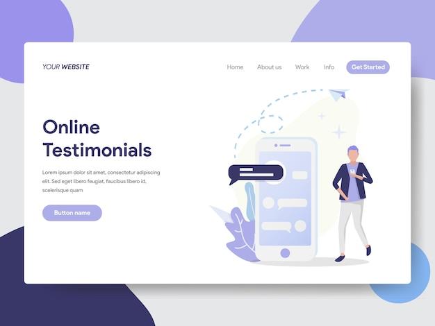 Testimonianze online illustrazione per la pagina del sito Vettore Premium