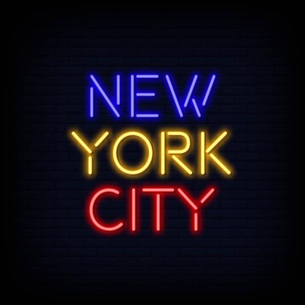 Testo al neon di new york city Vettore Premium