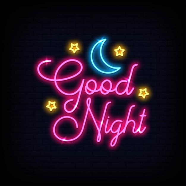 Testo al neon moderno good night light. banner di luce poster. Vettore Premium