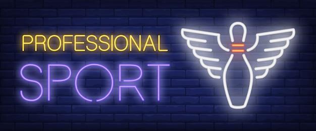 Testo al neon sport professionale e birillo con le ali Vettore gratuito