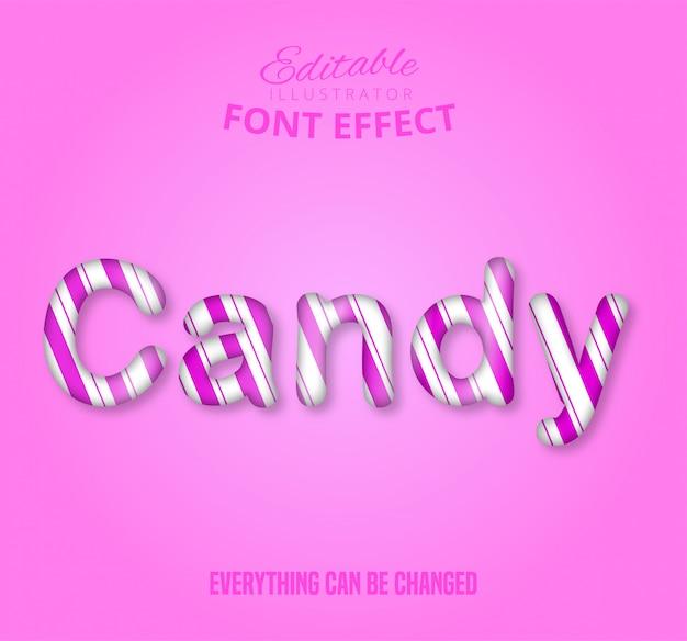 Testo candy, effetto testo modificabile Vettore Premium