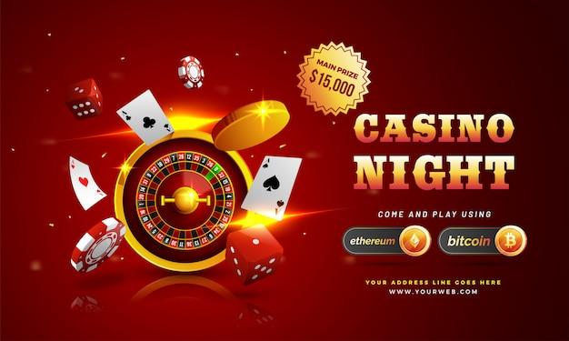 Testo d'oro casino night con chip 3d Vettore Premium