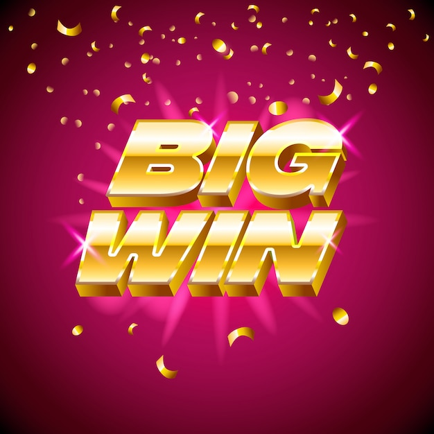 Testo d'oro per macchine da casinò, giochi d'azzardo, successo, premio, fortunato vincitore Vettore Premium