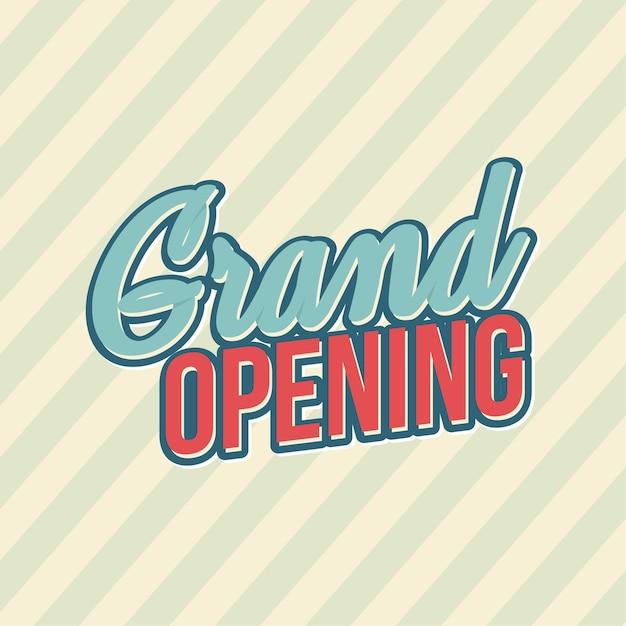 Testo del grand opening square Vettore Premium