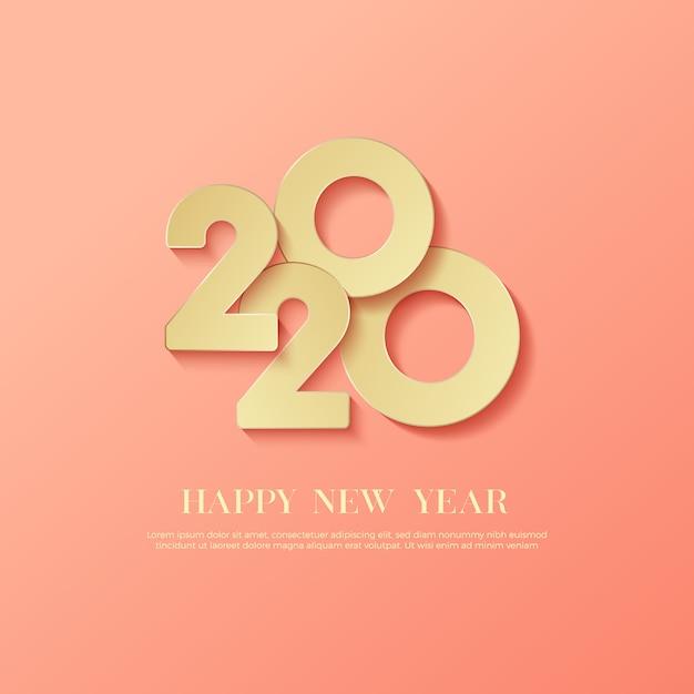 Testo del logo happy new year 2020 Vettore Premium