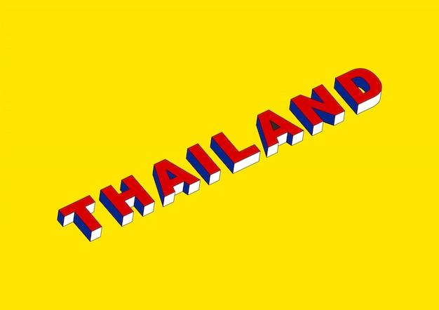 Testo della tailandia con effetto isometrico 3d Vettore Premium