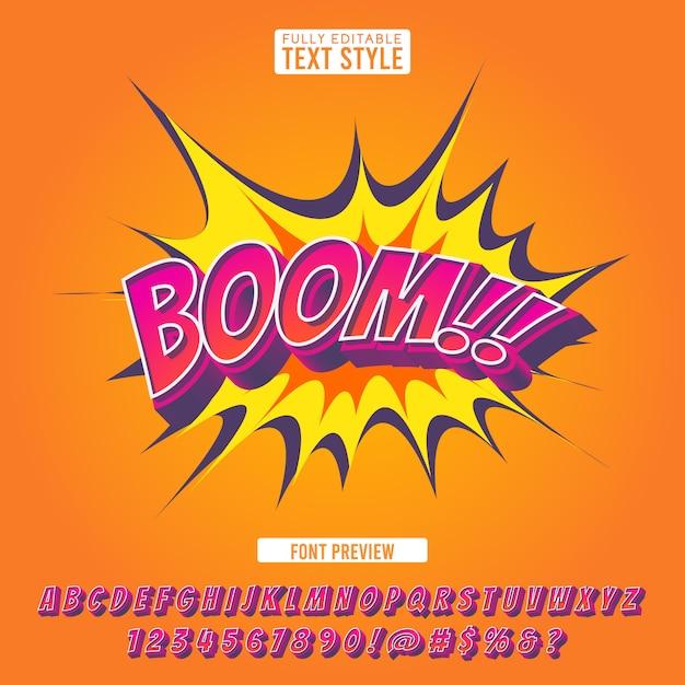 Testo di alfabeto di lettere di pop art del fumetto di effetto di stile 3d della fonte comica creativa di esplosione per l'illustrazione e l'insegna Vettore Premium