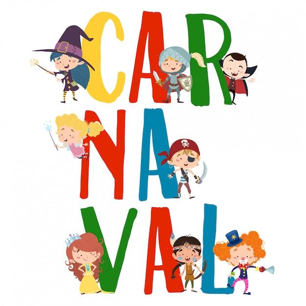 Testo di carnevale con personaggi in costume dos Vettore Premium