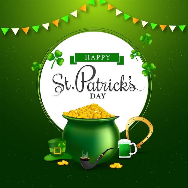 Testo di happy st. patrick's day a forma circolare bianca con pentola di monete, ferro di cavallo, boccale di birra, pipa da fumo e cappello da leprechaun Vettore Premium