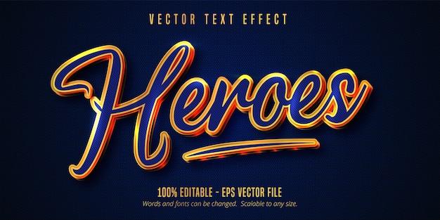 Testo di heroes, colore blu e effetto di testo modificabile in stile oro lucido Vettore Premium