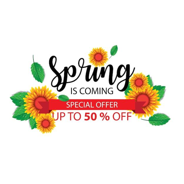 Testo di primavera Vettore Premium