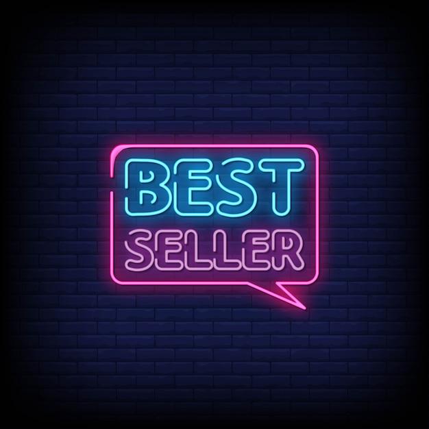 Testo di stile delle insegne al neon del best-seller Vettore Premium