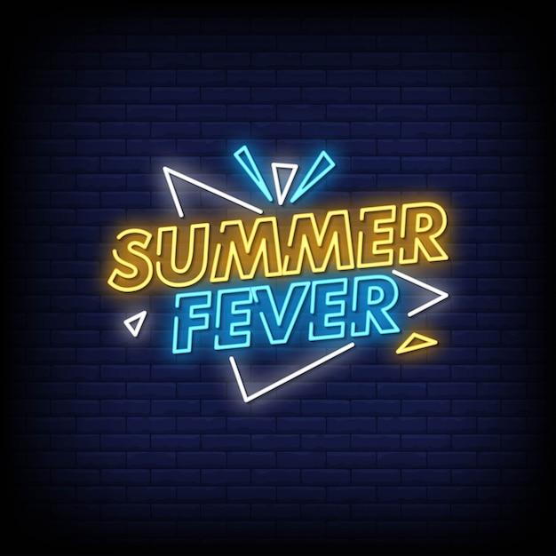 Testo di stile delle insegne al neon di febbre di estate Vettore Premium
