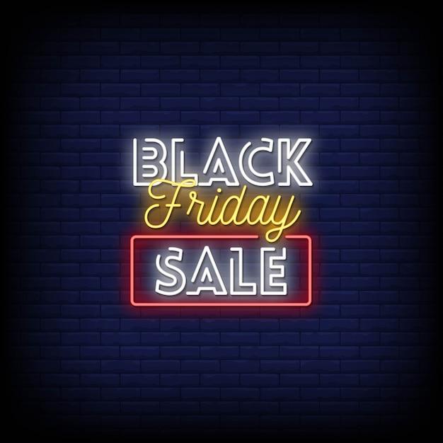 Testo di stile delle insegne al neon di vendita di black friday Vettore Premium