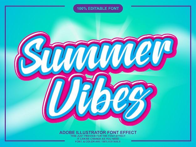 Testo di vibrazioni estive con effetto carattere moderno alla moda Vettore Premium