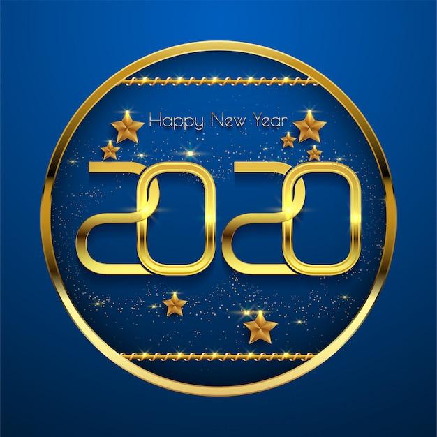 Testo dorato del buon anno 2020 su fondo blu Vettore Premium