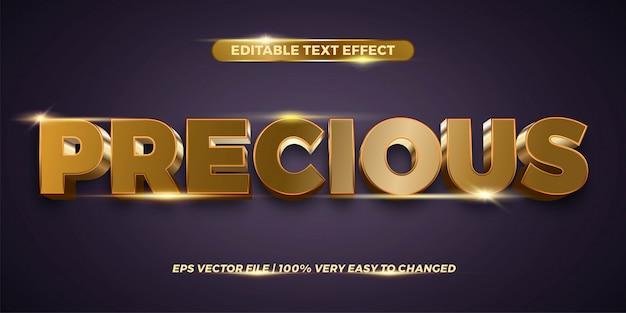 Testo effetto in parole preziose testo effetto tema modificabile metallo colore oro concetto Vettore Premium