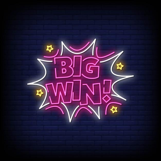 Testo in stile big win insegne al neon Vettore Premium