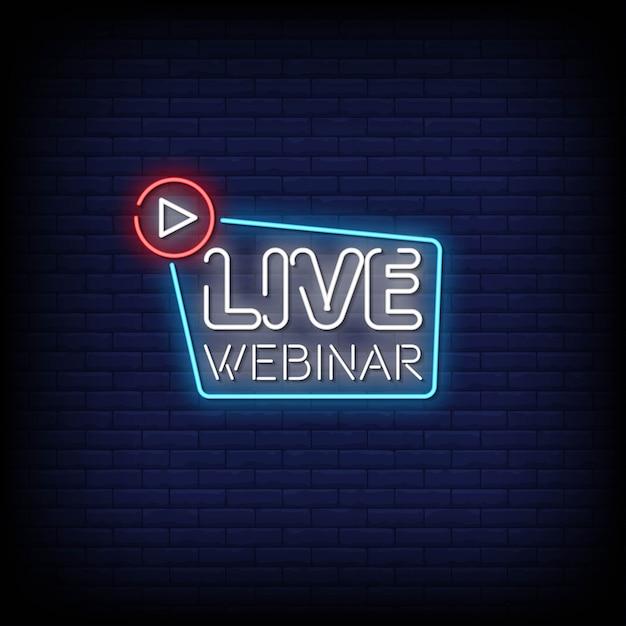 Testo in stile di insegne al neon per webinar dal vivo Vettore Premium