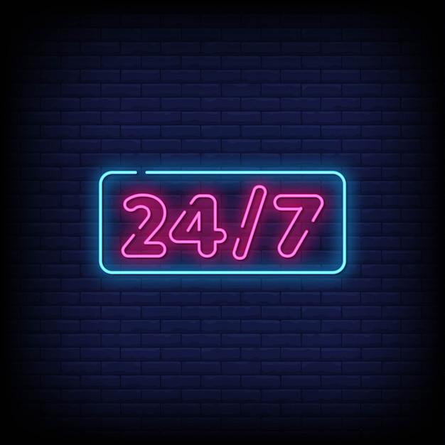 Testo in stile insegne al neon 24/7 Vettore Premium