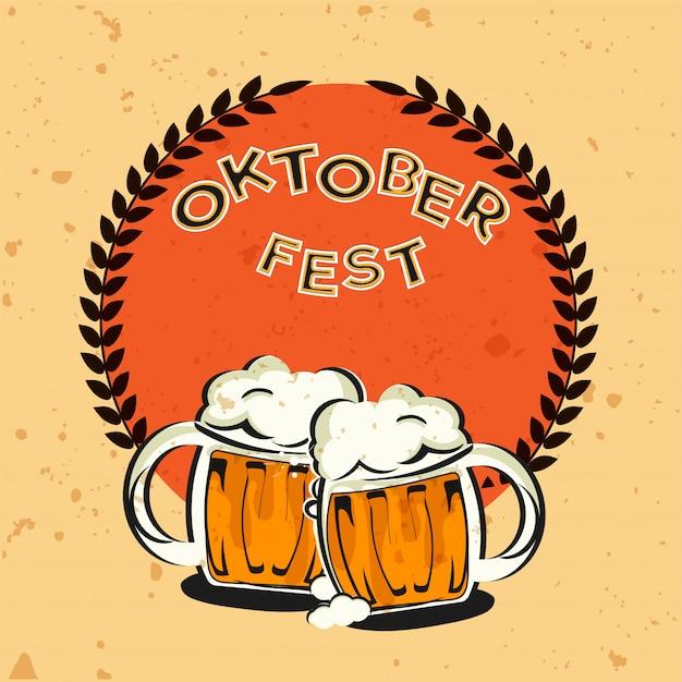 Testo in stile vintage oktoberfest con due boccali di birra Vettore Premium