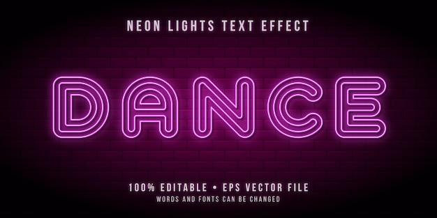 Testo modificabile con effetto luci tubo al neon Vettore Premium