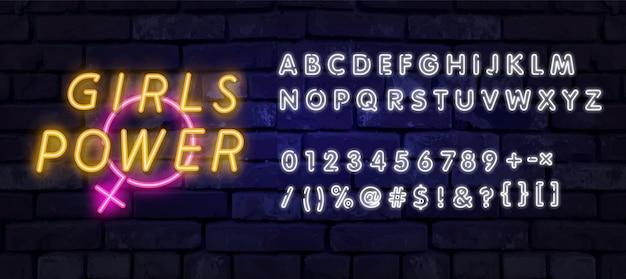 Testo neon ragazza potenza. insegna al neon, pubblicità luminosa di notte, insegna colorata Vettore Premium