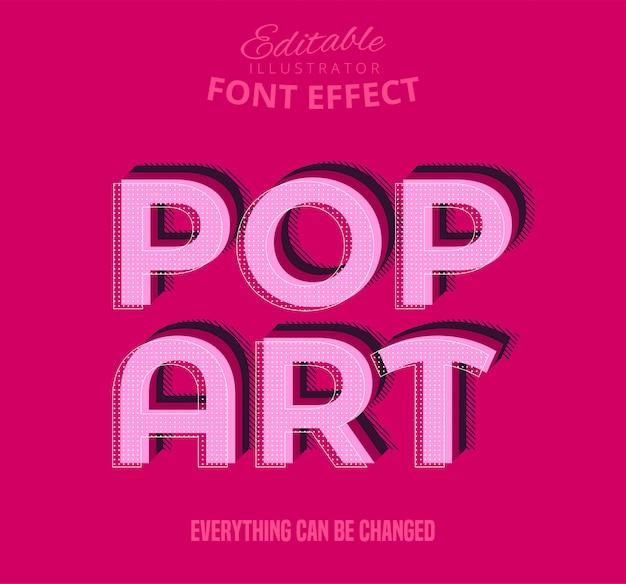 Testo pop art, effetto carattere modificabile Vettore Premium