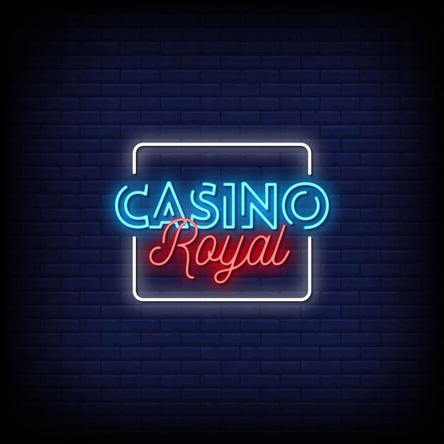 Testo stile casinò royal neon signs Vettore Premium
