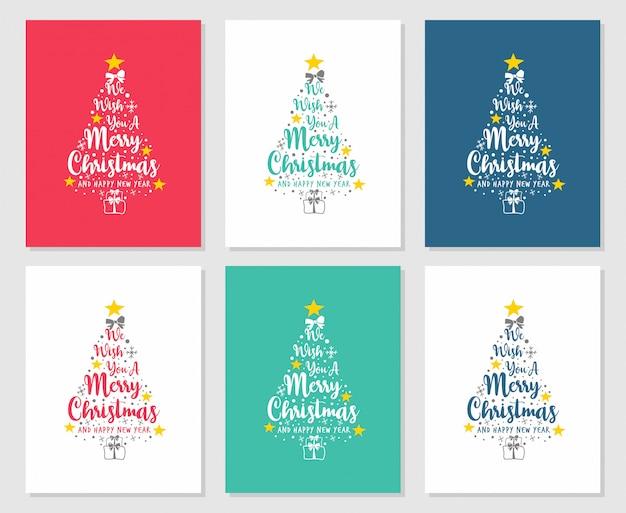 Testo ti auguriamo buon natale e felice anno nuovo Vettore Premium
