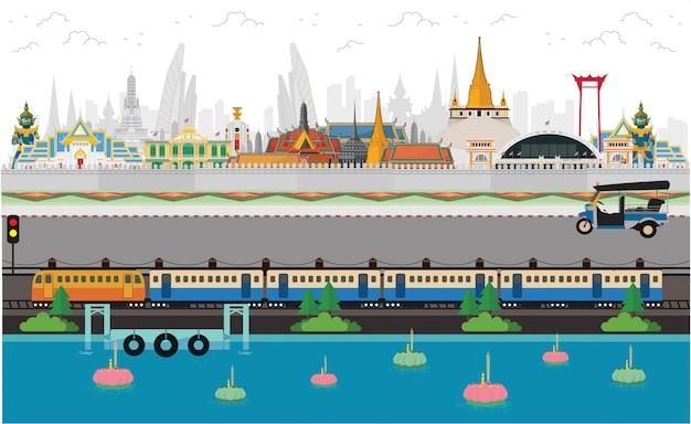 Thailandia, terra del sorriso. bangkok in tailandia e punti di riferimento e viaggi Vettore Premium
