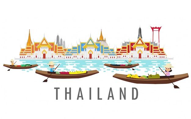 Thailandia terra del sorriso. Vettore Premium