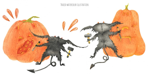 The little furry devils graving zucche Vettore Premium