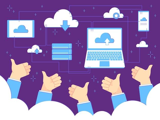 Thumbs up feedback. cloud computing e backup. uomo d'affari con pollice in alto gesti. concetto di affari di lavoro di squadra Vettore Premium