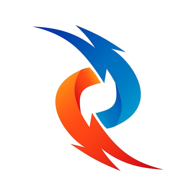 Thunder logo astratto Vettore Premium