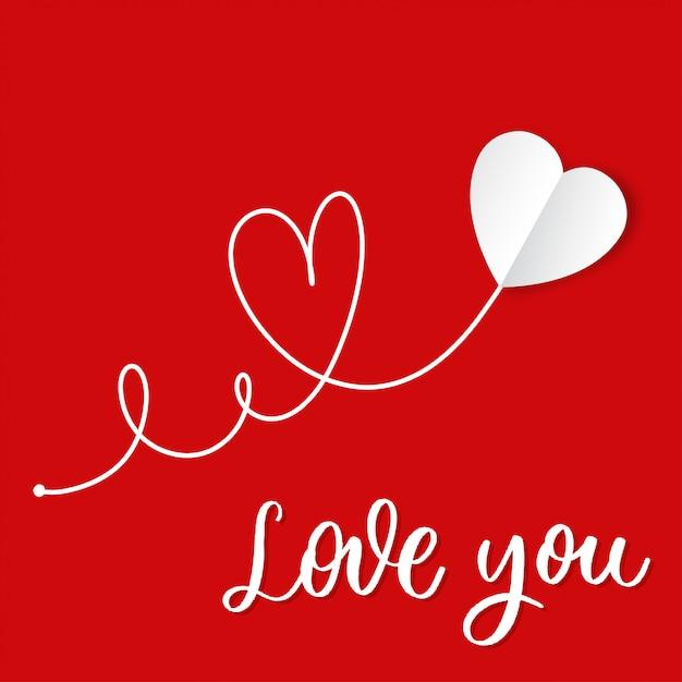Ti amo. cuore di carta bianca disegnata a mano con lettering vettoriale. Vettore Premium