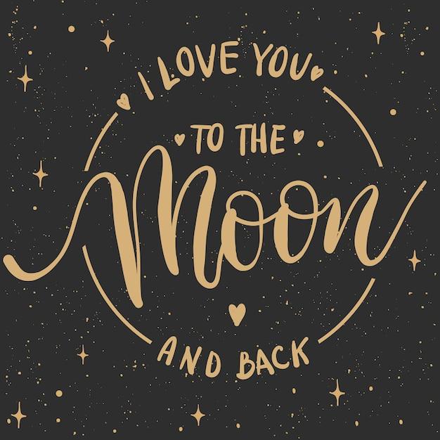 Ti amo fino alla luna e ritorno Vettore Premium