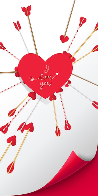 Ti amo lettering in cuore rosso con le frecce piercing esso Vettore gratuito