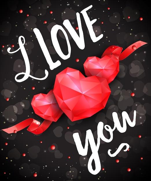 Ti amo lettering romantico con cuori Vettore Premium