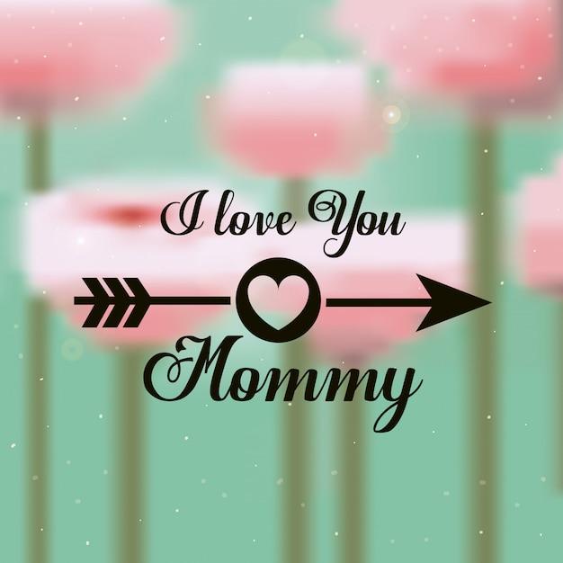 Ti amo mamma. festa della mamma design Vettore Premium