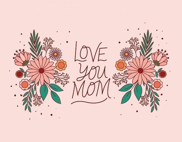 Ti amo mamma testo con fiori e foglie Vettore Premium