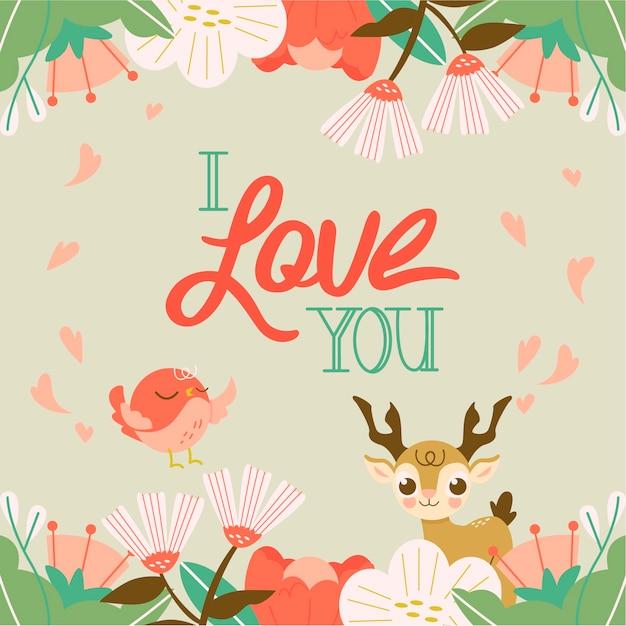 Ti amo messaggio a tema floreale Vettore gratuito