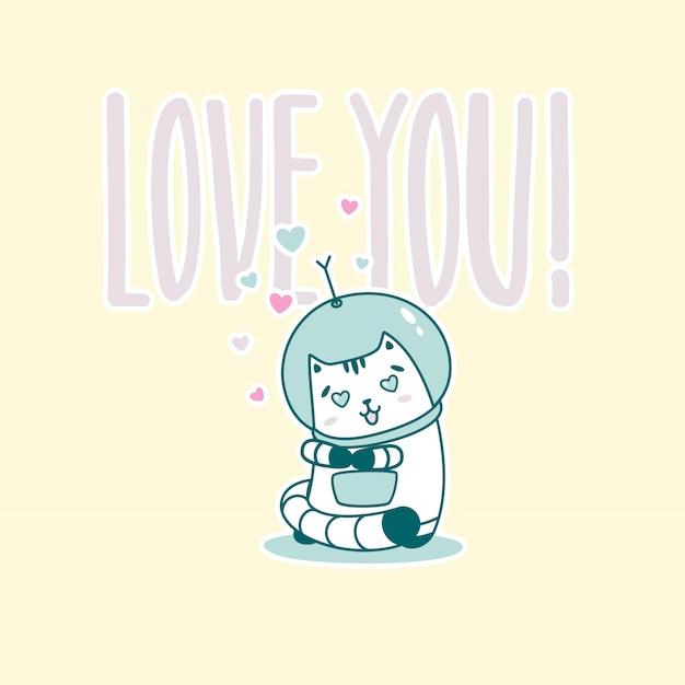Ti amo scritte con un simpatico gatto astronauta Vettore Premium