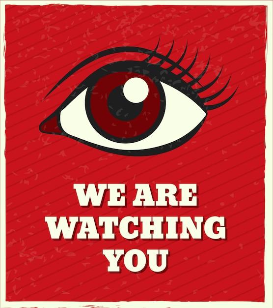 Ti stiamo guardando, lettering. guardando l'occhio femminile Vettore Premium