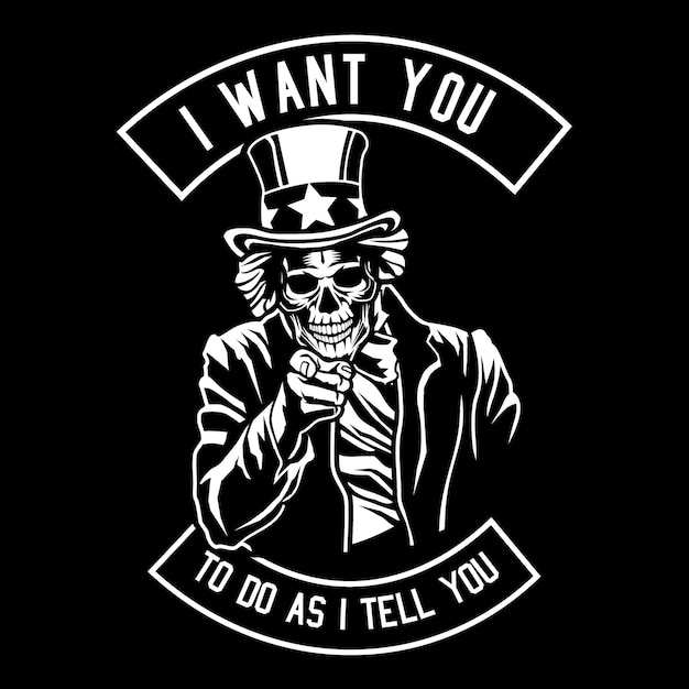 Ti voglio teschio Vettore Premium