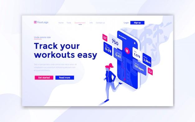 Tieni traccia dei tuoi allenamenti facile landing page Vettore Premium