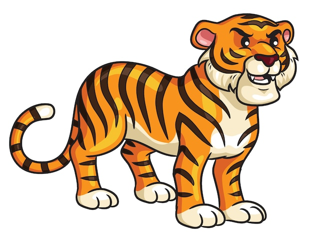 Tiger cartoon carino Vettore Premium